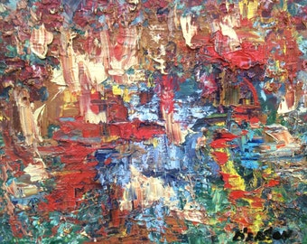 Abstract art  Reflections original abstract painting 8 x 10 oil abstract art