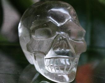 "CLEAR 2.2"" Natural Smokey Quartz Carved Crystal Skull 3.53 OZ Healing C0566"