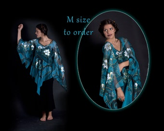 Dress Medieval cut, TO ORDER, elven tunic, M size, elven costume, prom dress, elven dress, Goth dress, hand-painted dress, turquoise tunic