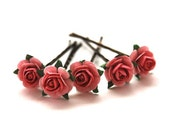 Rose Pink Bobby Pins, Wedding, Bridal, Paper Flower, Girl, Hair Accessory