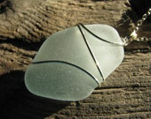 SALE Sea Glass Jewelry Pale Sky Blue Sea Glass Necklace Beach Glass Pendant