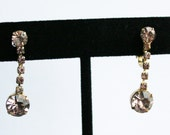 Sale Vintage Purple Rhinestone Dangle Earrings Lilac 1950s