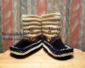 Buggs Crochet Toddler Short Booties in Navy, Cocoa Brown, and Lace Wood Button Accents