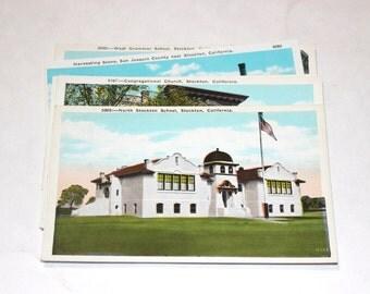 5 Vintage Stockton California Postcards Blank - Travel Themed Wedding Guestbook