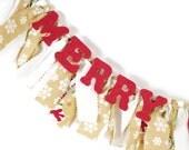 Merry Christmas Garland -  Snowman Banner - Winter Decoration - Christmas Rag Banner