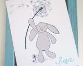 Rabbit and a Dandelion,  Nursery Art Print, Hope, Blue, Pink, and Grey