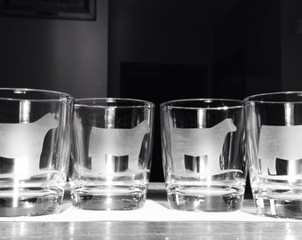 Set of 4 Etched Livestock Tumblers