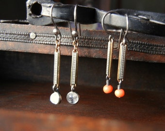Delicate Dangle Earrings with Antique Victorian Link and Salmon Coral or Moonstone, Repurposed Jewelry, Unique Gift for Her, Spring