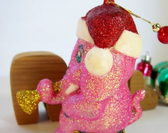 Hand Painted Pink Circus Elephant Christmas Ornament Vintage Flocked With New Sparkle Collectible