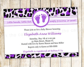 Leopard Invitation Card Baby Girl Shower Purple Printable Personalized