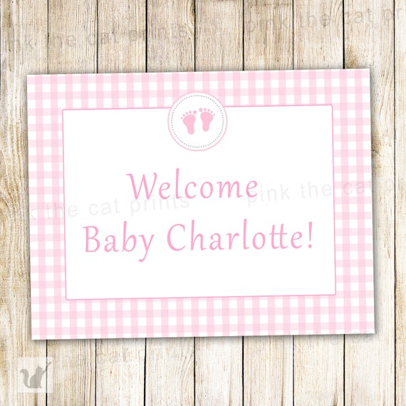 baby shower welcome sign pink gingham printable personalized party