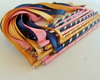100 Enchanted  Wedding Ribbon Wands in YOUR COLORS - Colorful wedding ceremony exit idea