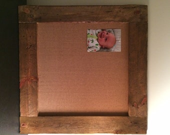 Large Square Rustic Wood Cork Board