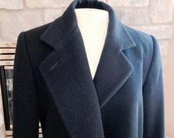 Vintage Jones New York Petite Dark Blue coat, long or full length coat, dressy outerwear, lightweight winter coat