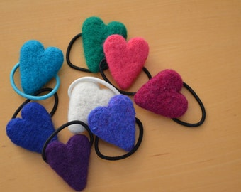 Heart Ponytail Holder Needle Felted Kelly Green Hot Pink Magenta White Blue Speckled Purple Royal Blue Turquoise