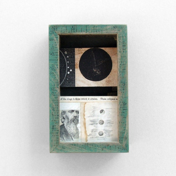 assemblage art - Eclipse Box - moon, moon phase, astronomy, science, space, mixed media collage art