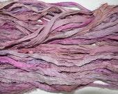 Recycled Sari Silk Ribbon Yarn multi #3 color, 65 yards,  free shipping 3.5 oz / 100 grams Mulberry pink