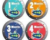 Baby Month Milestone Stickers FREE Baby Month Sticker Baby Monthly Stickers Baby Boy Bodysuit Sticker Baby Gift  Blue Grey Submarine 110B