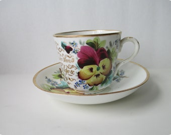 Christmas Sale - Beautiful Antique 1896 Victorian Moustache Cup and Saucer with Handpainted Pansies and Gilt Inscription