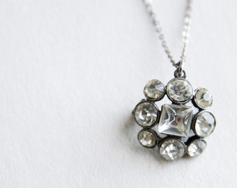 1940s Necklace - 40s Necklace - Rhinestone Pin With Chain Necklace