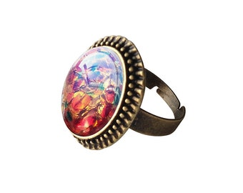 Get 15% OFF - Fire Opal Oval Glass Cabochon Antique Bronze Adjustable Ring - Happy Halloween SALE 2016
