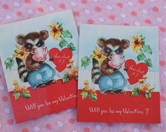 Vintage Unused Valentines Day Card, Raccoon with Heart