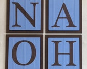 Baby Boy Nursery, Name Wall Letters Room / Wall Decor, 6 x 6 BLUE and BROWN Personalized Wooden Plaques, Customized Signs, Kids Gift Ideas