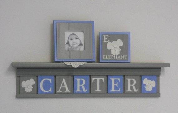 Elephant Art Wall Decor Name Shelves Personalized Grey Nursery