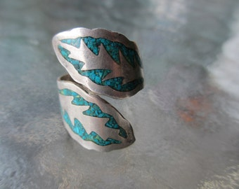 60's Vintage Turquoise  Wide Ring  Mexican Sterling 8