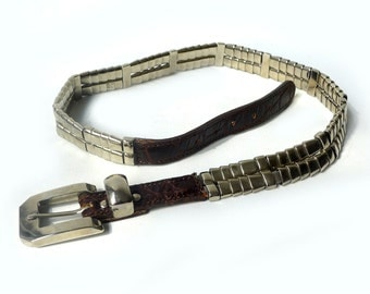Vintage 1990s heavy brown leather and silver chrome link belt