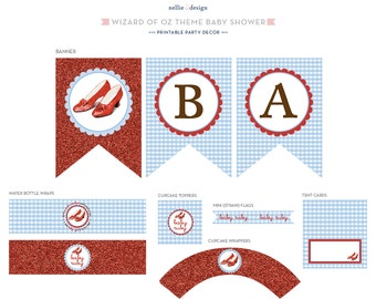 Ruby Slippers Wizard of Oz Theme - Printable Baby Shower Decor