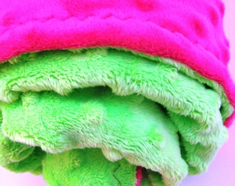 Hot Pink and Lime Green Baby Blanket - Perfect for Stroller or Car Seat