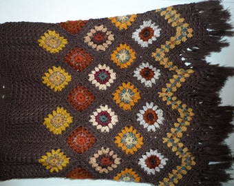 Crochet 1960-s hippie style bohemian granny square shades of woodland forest brown womens girls  skirt with fringe OOAK