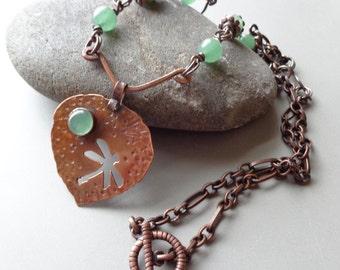 Copper Pendant Necklace Green Adventurine Stone