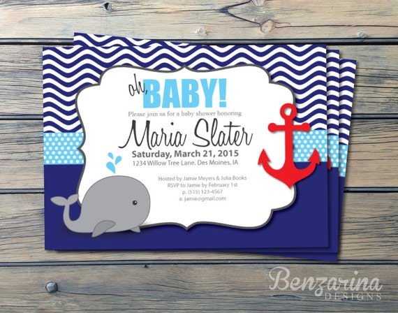 baby shower invitation nautical whales waves anchor red, Baby shower invitations