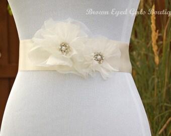 Ivory Organza Bridal Sash, Ivory Organza Wedding Belt, Ivory Bridal Belt