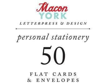 50 Personalized Letterpress Notecards
