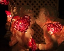 35 Bulbs Red Love Valentine Rattan Heart string lights for Patio,Wedding,Party and Decoration