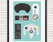 Retro gaming poster, video game print, geekery art, game controller poster, man cave decor, kids room art, play room art A4, 8x10