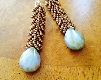 Light green czech beaded earrings - czech earrings - bronze earrings - statement earrings - czech dangle earrings - beadwoven earrings EBW