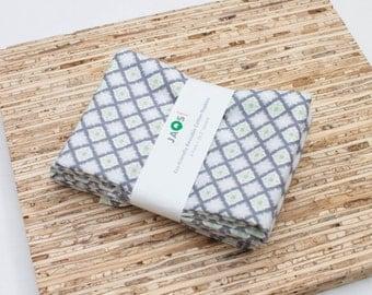 Large Cloth Napkins - Set of 4 - (N2244) - Gray Snowflakes Geometric Modern Reusable Fabric Napkins