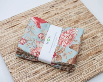 Large Cloth Napkins - Set of 4 - (N2729) - Aqua Flowers Floral Modern Reusable Fabric Napkins