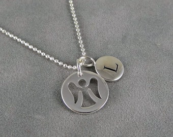 Silver Angel Initial Necklace - Guardian Angel Necklace - First Communion, Personalized, Initial