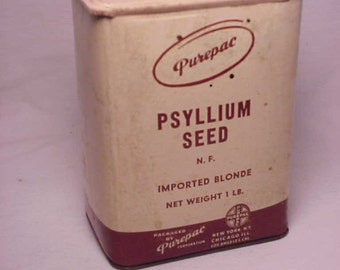 c1940s Purepac Psyllium Seed imported Blonde packed by Purepac New York, N.Y., Antique Medicine Container No.1