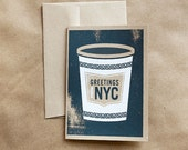 Greetings from NYC Coffee Cup, A6 Screenprinted Blank Greeting Card