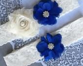 Wedding Garter Set Bridal Garter Set Royal Dark Blue Lace Garter Set Ivory Rhinestone Crystal Lace Garter Beach Wedding GR125LX