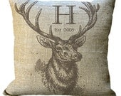 Elk Head with Antlers Custom Monogram on Burlap in Choice of 14x14 16x16 18x18 20x20 22x22 24x24 26x26 inch Pillow Cover