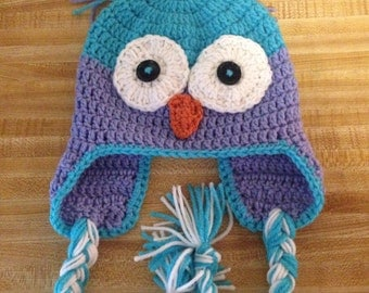 Owl hat - crochet owl hat - animal hat - owl beanie - crocheted owl beanie - winter hat - winter toque - owl toque - free shipping - vegan