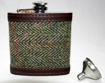 Harris Tweed Hip Flask Gift Sets - Set of 4  6oz in a choice of 4 different tweeds with leather trim perfect for Weddings or Corporate Gifts