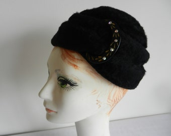 Black Fur Felt hat with Rhinestone Accent